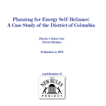 Planning for Energy Self-Reliance: A Case Study of the District of Columbia
