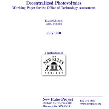 Decentralized Photovoltaics