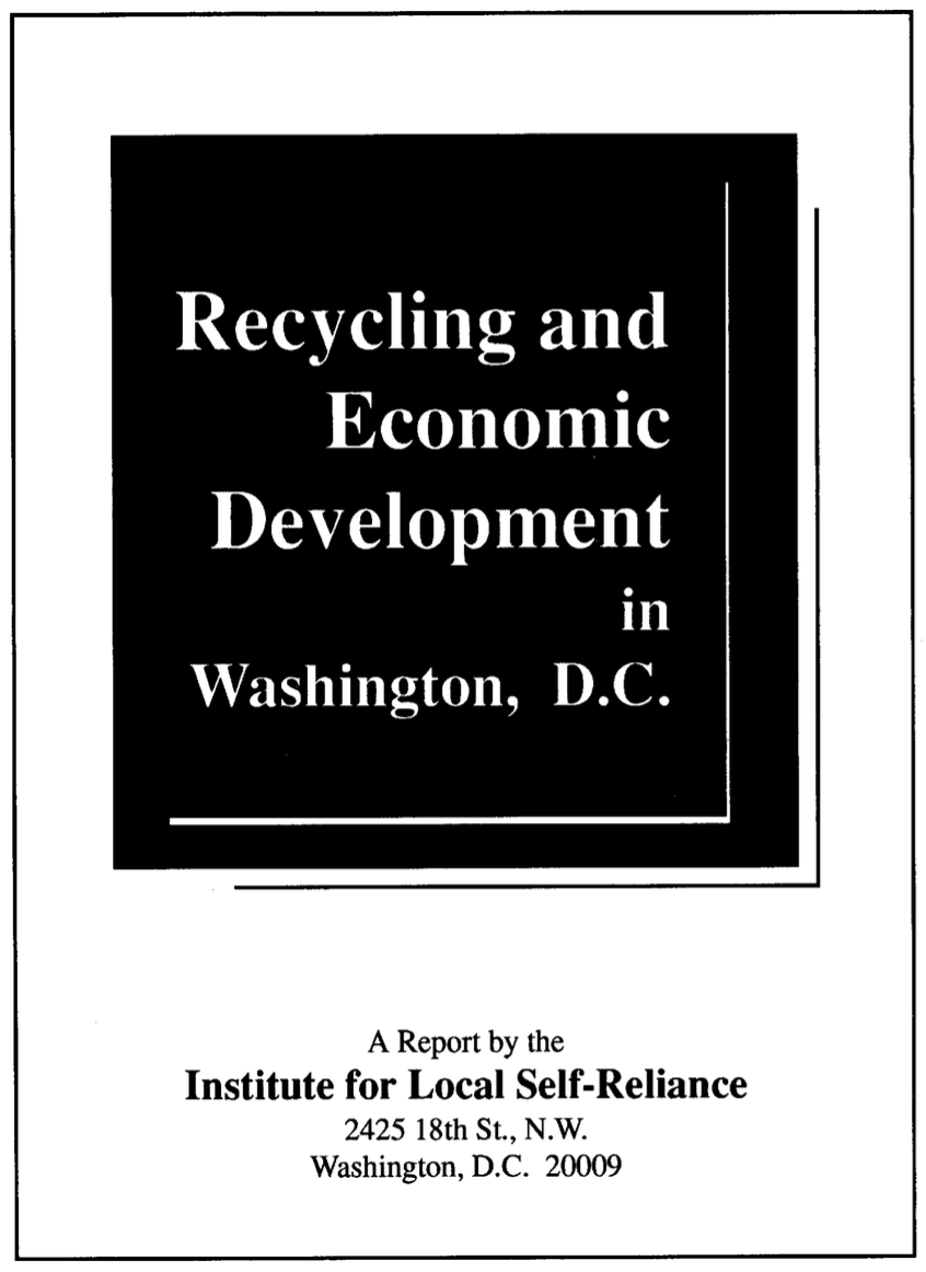 Recycling and Economic Development in Washington, D.C.