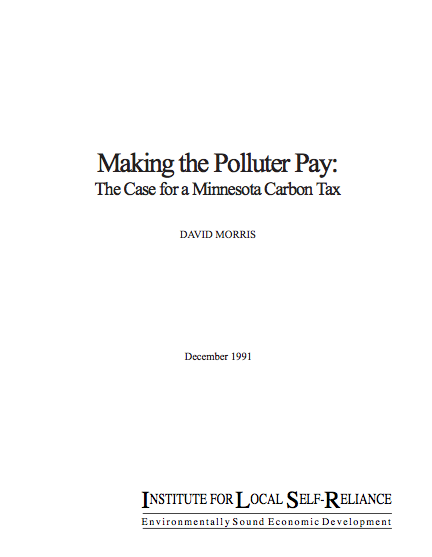 Making the Polluter Pay: The Case for a Minnesota Carbon Tax