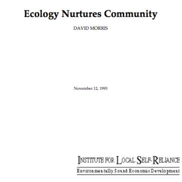 Ecology Nurtures Community