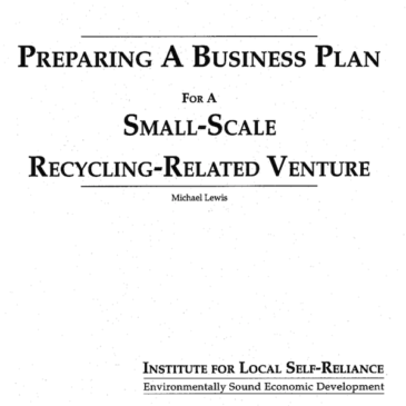 Preparing a Business Plan for a Small-Scale Recycling Related Venture