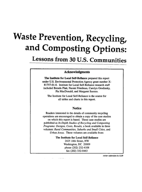 Waste Prevention, Recycling, and Composting Options: Lessons from 30 U.S. Communities