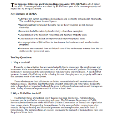 Efficiency and Pollution Reduction Act (EEPRA) of 1996: Questions and Answers – Factsheet
