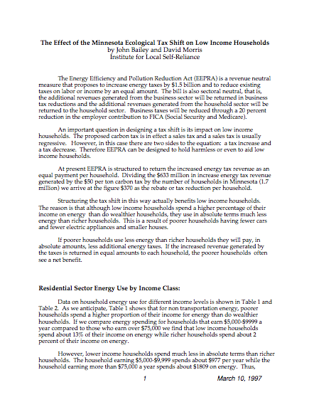 Report: The Effect of the Minnesota Ecological Tax Shift on Low Income Households
