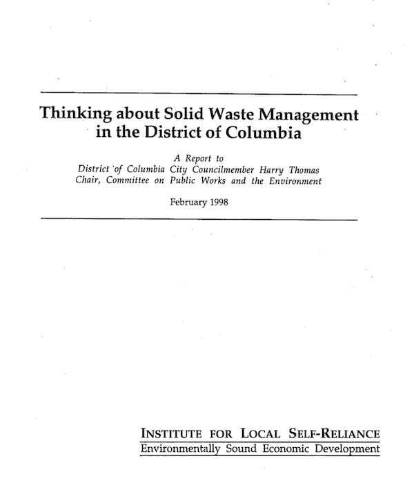 Thinking About Solid Waste Management in the District of Columbia