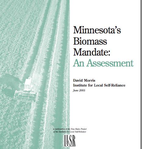 Report: MN Biomass Mandate Fails to Meet Original Intent