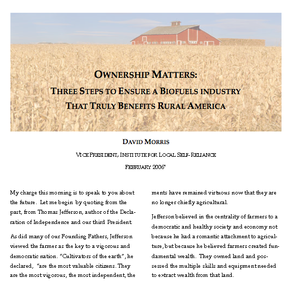 Report: Ownership Matters – Three Steps to Ensure a Biofuels Industry That Truly Benefits Rural America