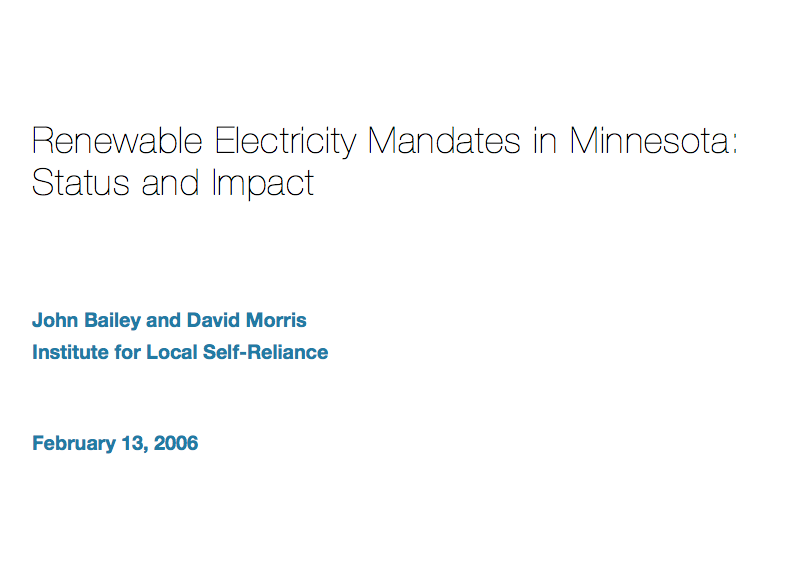 Renewable Electricity Mandates in Minnesota: Status and Impact
