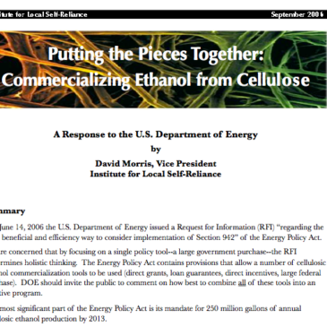 Report: Putting the Pieces Together – Commercializing Cellulosic Ethanol