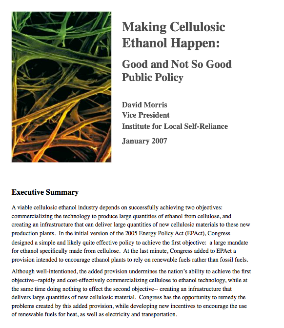 Report: Making Cellulosic Ethanol Happen – Good and Not So Good Public Policy
