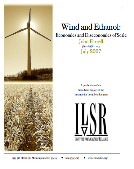 Report: Wind and Ethanol – Economies and Diseconomies of Scale