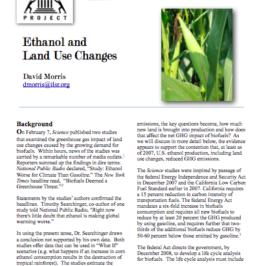 Report: Ethanol and Land Use Changes