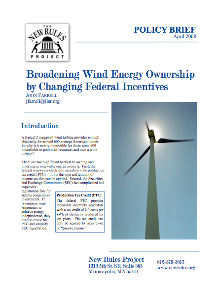 Report: Broadening Wind Energy Ownership by Changing Federal Incentives
