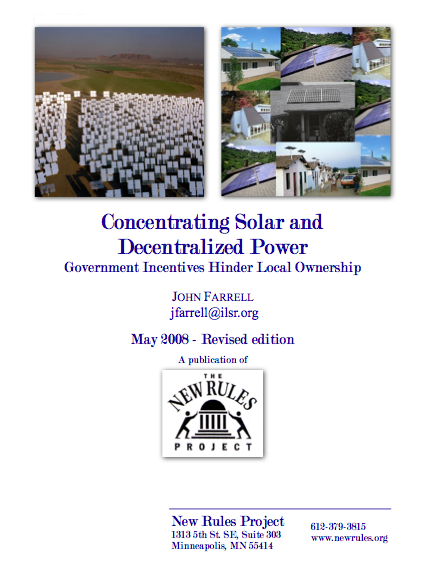 Report: Concentrating Solar and Decentralized Power – Government Incentives Hinder Local Ownership