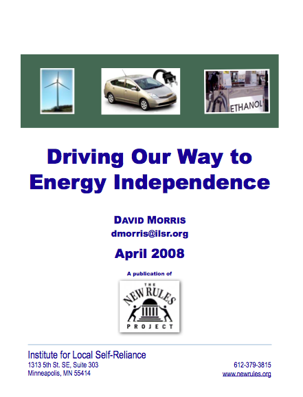 Report: Driving Our Way to Energy Independence