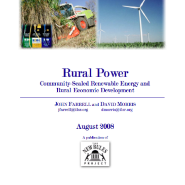 Report: Rural Power – Community-Scaled Renewable Energy and Rural Economic Development