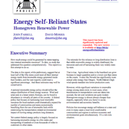 Report: Energy Self-Reliant States – Homegrown Renewable Power