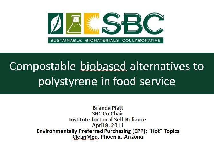 Compostable Biobased Alternatives to Polystyrene in Food Service