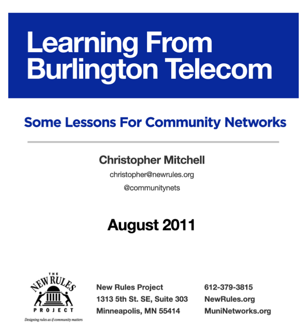 Learning from Burlington Telecom: Some Lessons for Community Networks