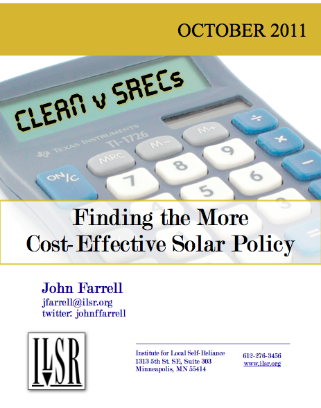 Report: CLEAN v SRECs – Finding the More Cost-Effective Solar Policy
