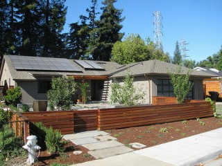 House with rooftop solar panels