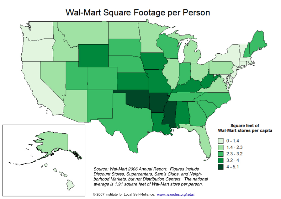 Walmarts Store Footprint Vacancy By State Graphs Institute - Map of walmart locations in us