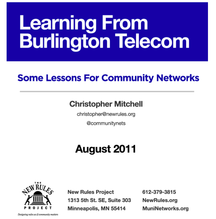ILSR Releases New Report: Learning from Burlington Telecom