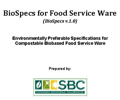 BioSpecs for Food Service Ware