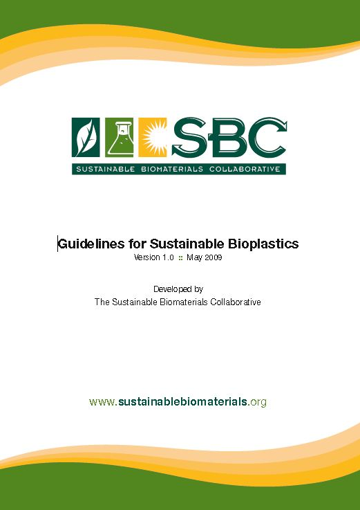 Guidelines for Sustainable Bioplastics - Institute for Local Self
