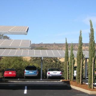 Solar parking lot canopy