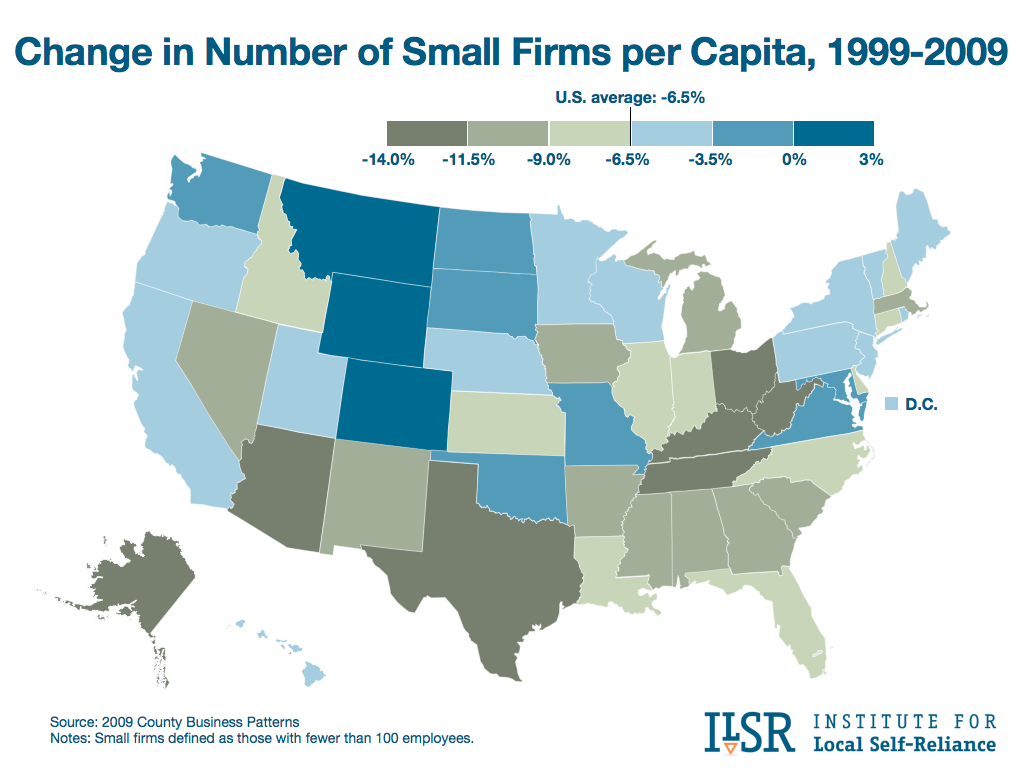 Change in Number of Small Firms per Capita, 1999-2009
