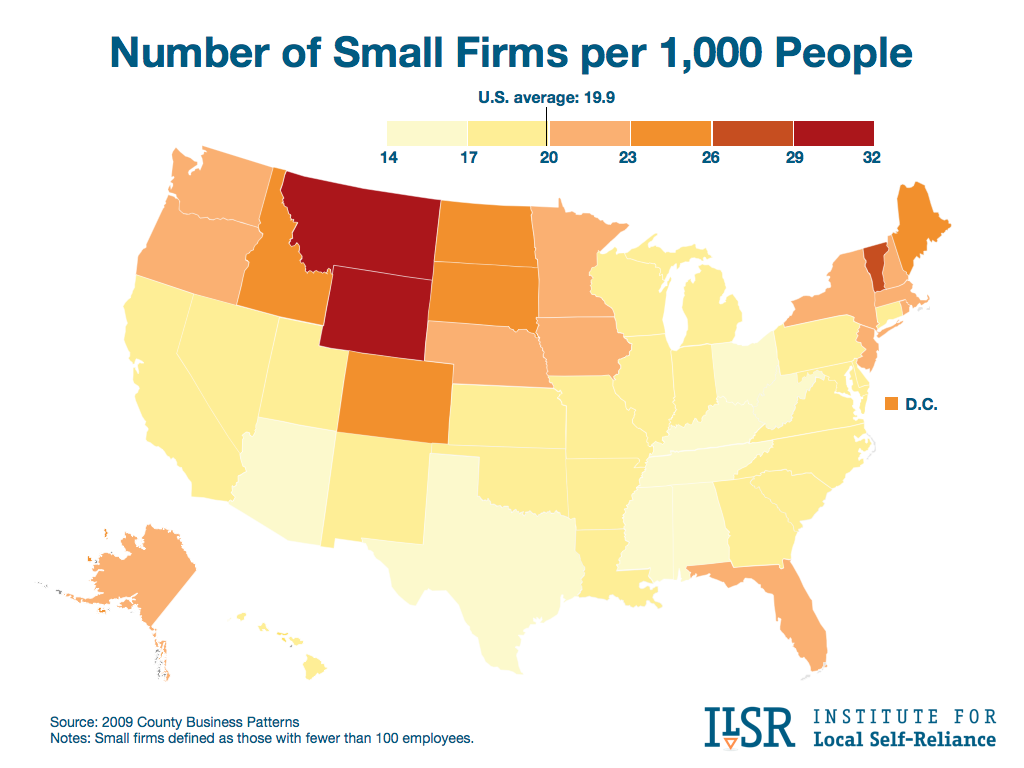 Number of Small Firms per 1,000 People, By State