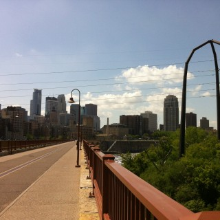 stone arch and power line