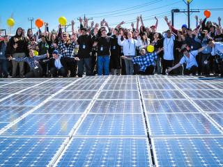 Cheering over new solar installation