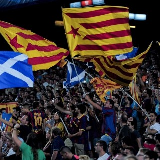 Scottish and Catalonian flags