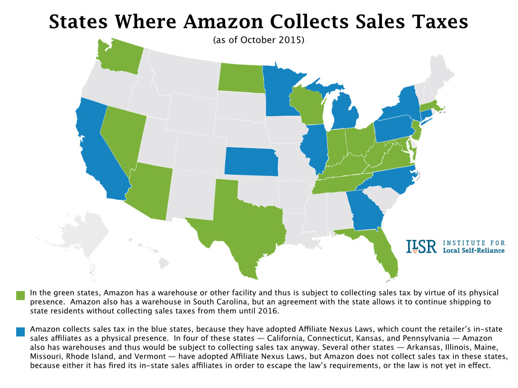 Map: States Where Amazon Collects Sales Tax.