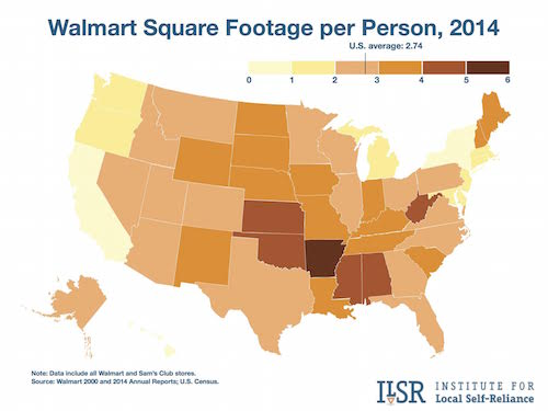 Map: Walmart Square Footage per person in 2014.
