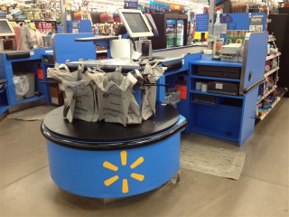 Photo: Plastic bags at Walmart checkout line.