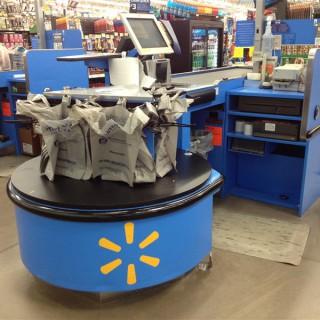Photo: Plastic bags at Walmart checkout line.