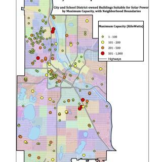 Minneapolis Solar Potential Municipal buildings map