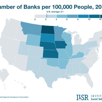 Map: Number of banks by state.