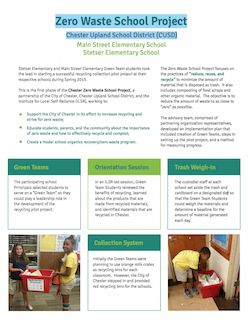 Zero Waste School Project Handout: Chester Upland School District (CUSD)