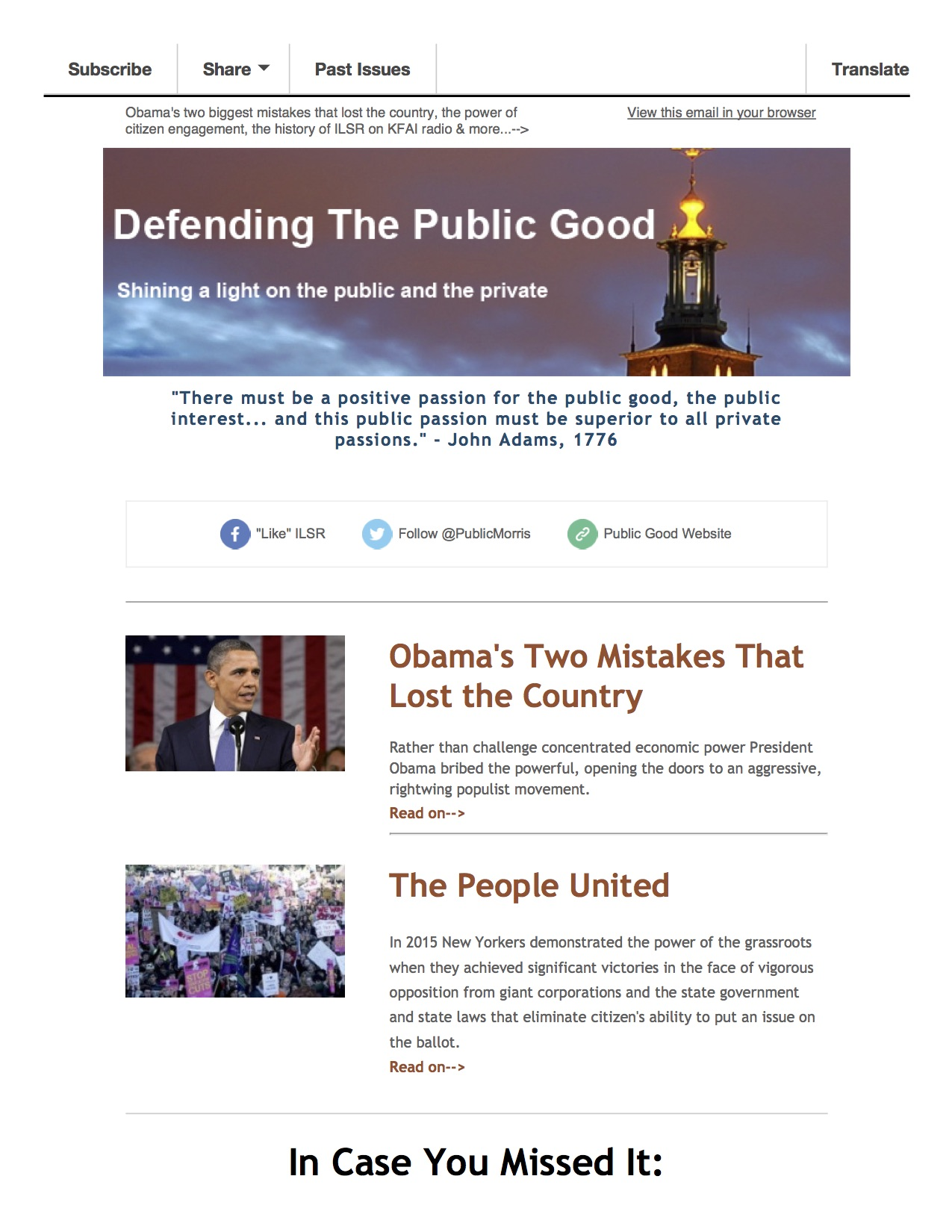 January 2016 - Public Good Newsletter Preview