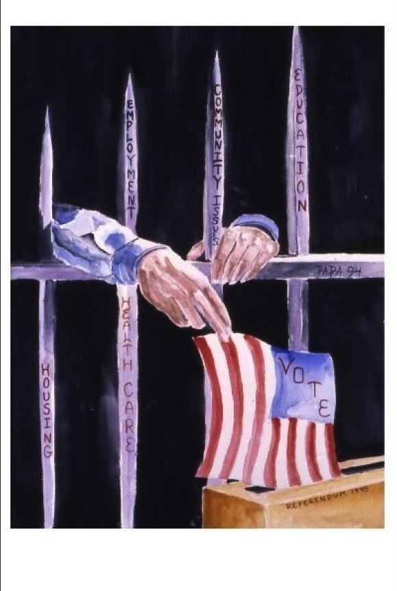 prisoner behind bars with flag