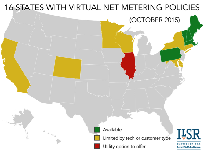 16 states with virtual net metering