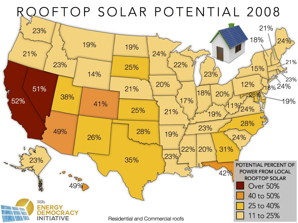 Local rooftop solar potential ILSR 2008 data