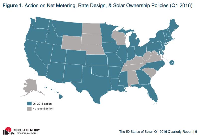 50 States of Solar Q1 2016 Map