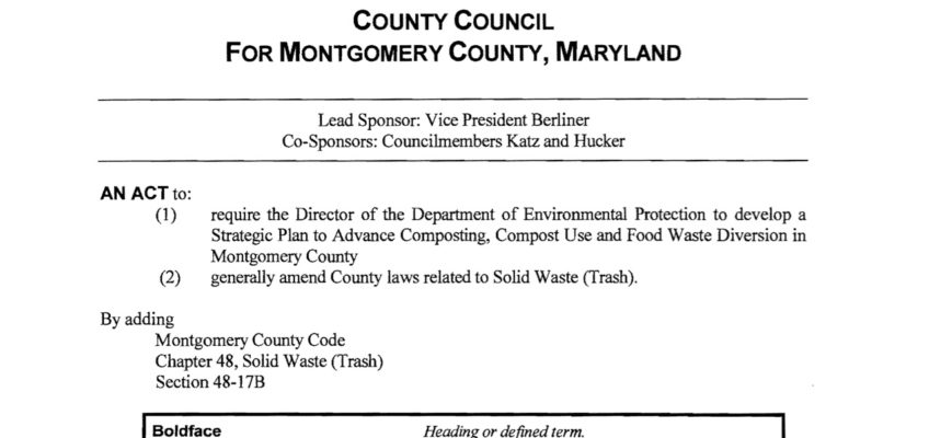 Montgomery Co. MD Bill Requires Distributed Composting