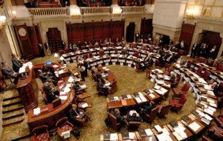 The New York State Senate in session at the Capitol in Albany, New York 9/10/2009. (Michael P. Farrell / Times Union )   Original Filename: MF_0911_SENATE_1_.jpg   IPTC record 115: Albany Times Union